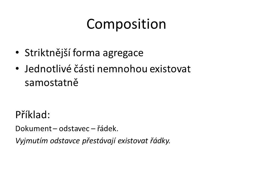 Composition Striktnější forma agregace Jednotlivé části nemnohou existovat samostatně Příklad: Dokument – odstavec – řádek. Vyjmutím odstavce přestáva