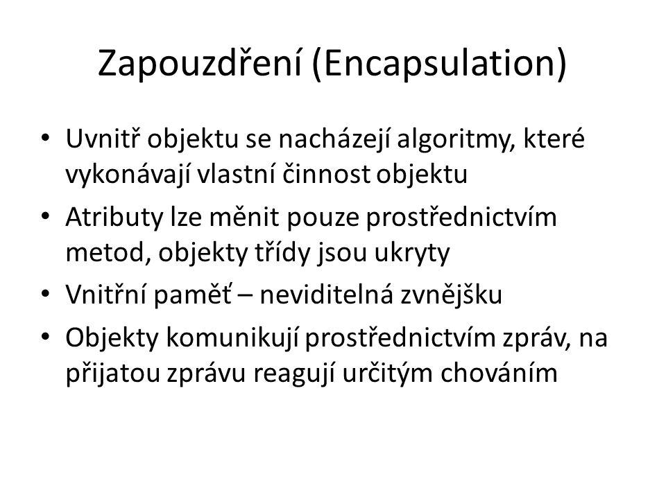 Zapouzdření (Encapsulation) Uvnitř objektu se nacházejí algoritmy, které vykonávají vlastní činnost objektu Atributy lze měnit pouze prostřednictvím m