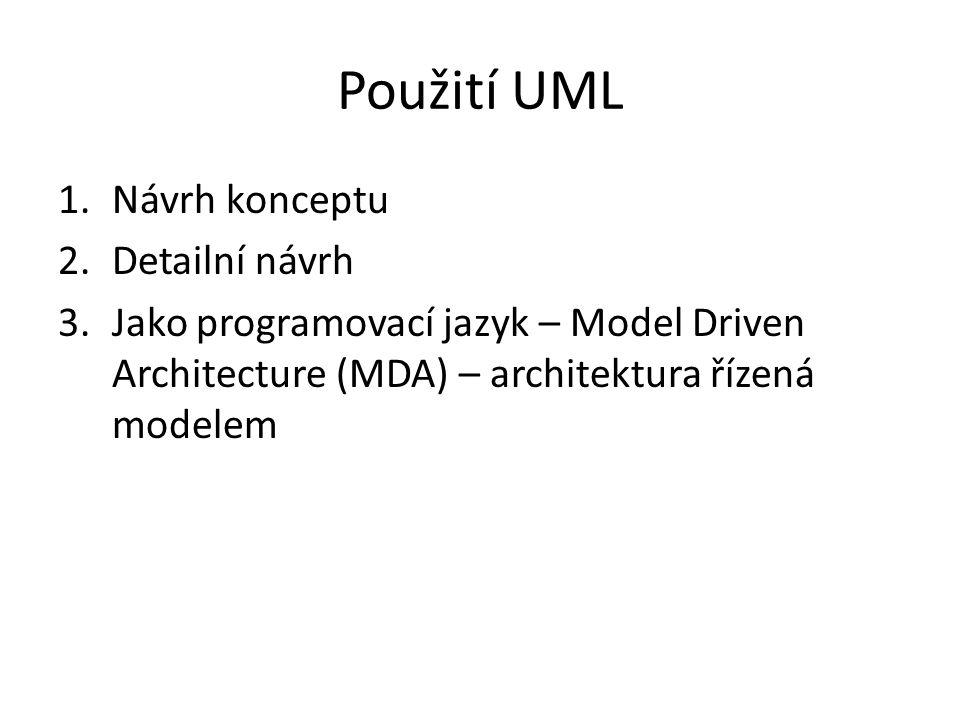 Použití UML 1.Návrh konceptu 2.Detailní návrh 3.Jako programovací jazyk – Model Driven Architecture (MDA) – architektura řízená modelem