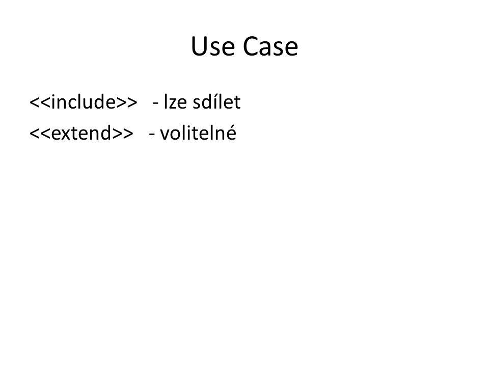 Use Case > - lze sdílet > - volitelné