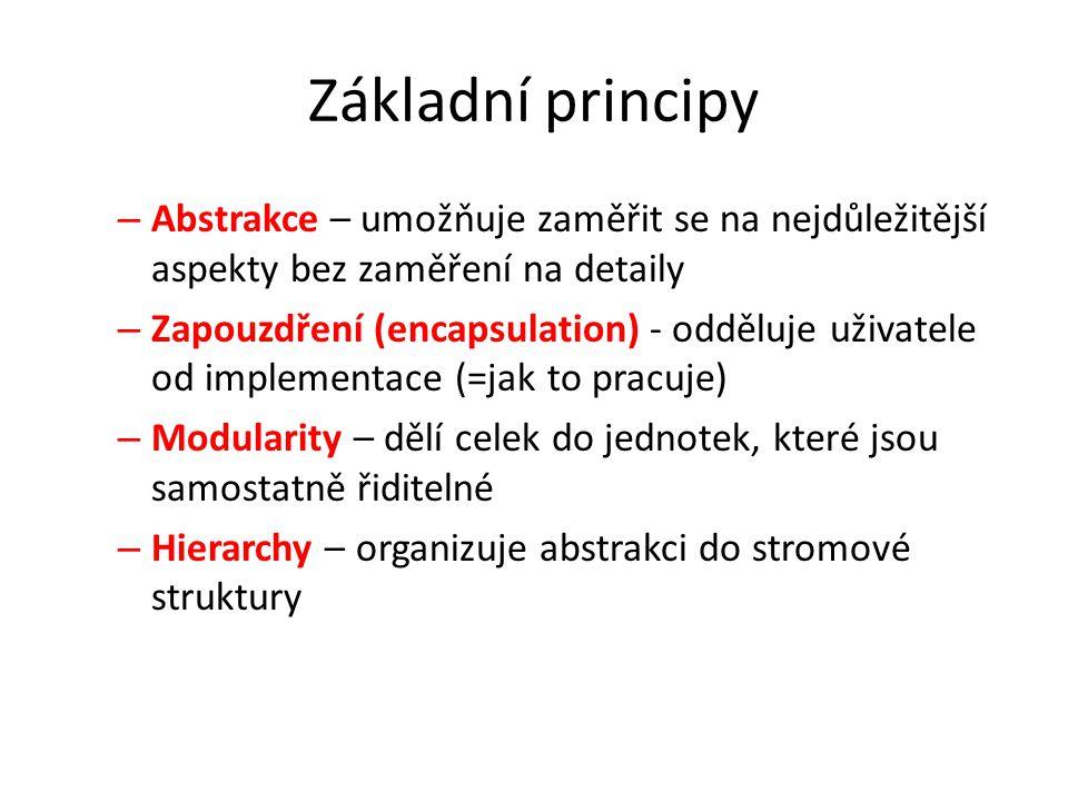 Základní principy – Abstrakce – umožňuje zaměřit se na nejdůležitější aspekty bez zaměření na detaily – Zapouzdření (encapsulation) - odděluje uživate