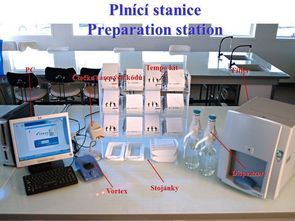 Plnící stanice Preparation station Tempo kit Filler PC Čtečka čárových kódů Stojánky Dispenzory Vortex