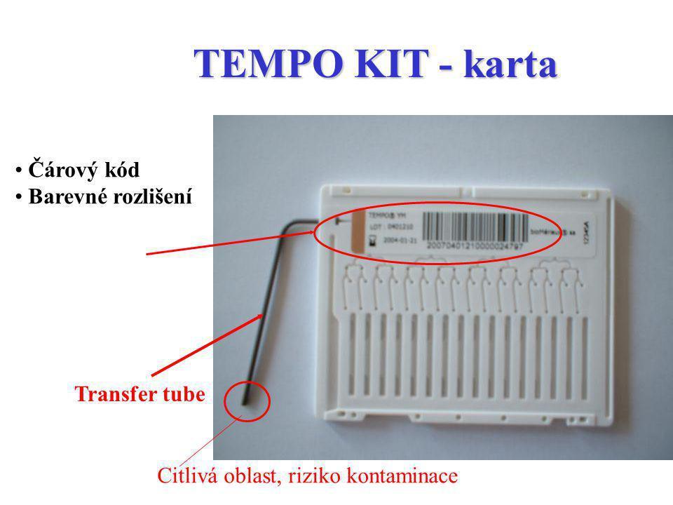 Čárový kód Barevné rozlišení TEMPO KIT - karta Transfer tube Citlivá oblast, riziko kontaminace