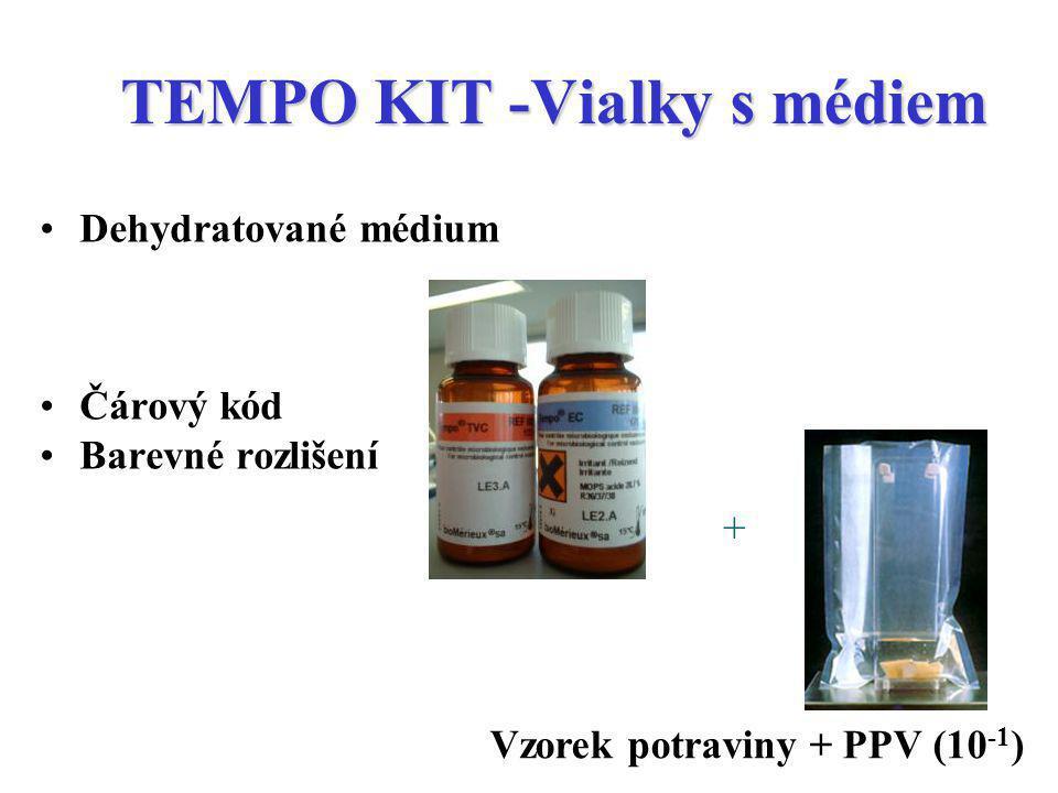TEMPO KIT -Vialky s médiem Dehydratované médium Čárový kód Barevné rozlišení + Vzorek potraviny + PPV (10 -1 )