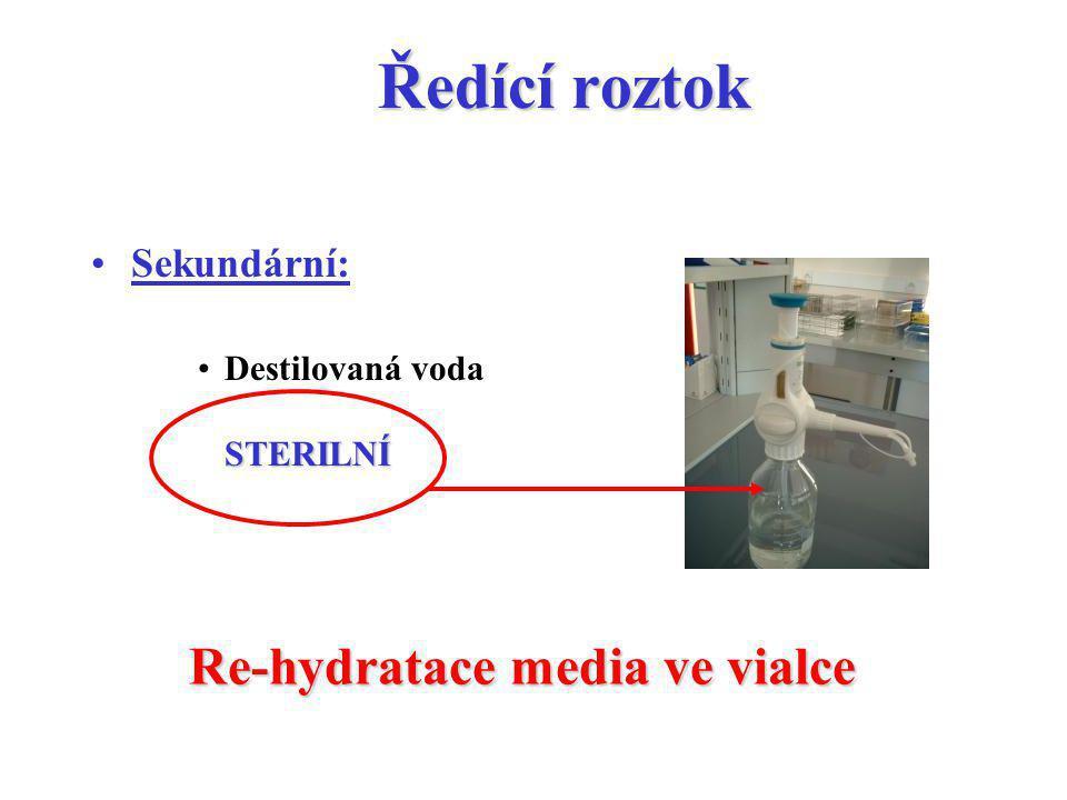 Ředící roztok Sekundární: Destilovaná voda STERILNÍ Re-hydratace media ve vialce