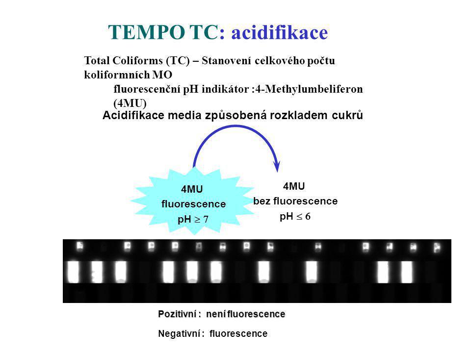 Acidifikace media způsobená rozkladem cukrů 4MU fluorescence pH  4MU bez fluorescence pH  TEMPO TC: acidifikace Negativní : fluorescence Pozitiv