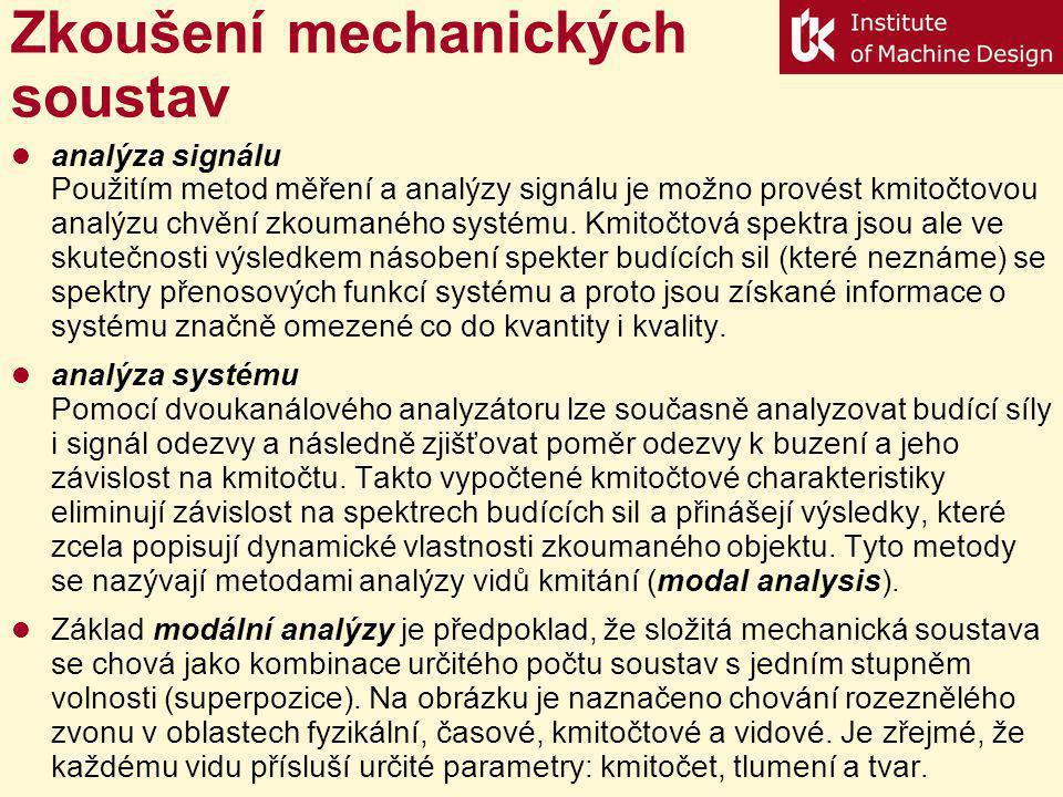 Zkoušení mechanických soustav analýza signálu Použitím metod měření a analýzy signálu je možno provést kmitočtovou analýzu chvění zkoumaného systému.
