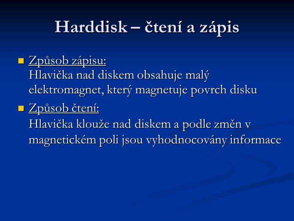 Harddisk – čtení a zápis Způsob zápisu: Hlavička nad diskem obsahuje malý elektromagnet, který magnetuje povrch disku Způsob zápisu: Hlavička nad disk