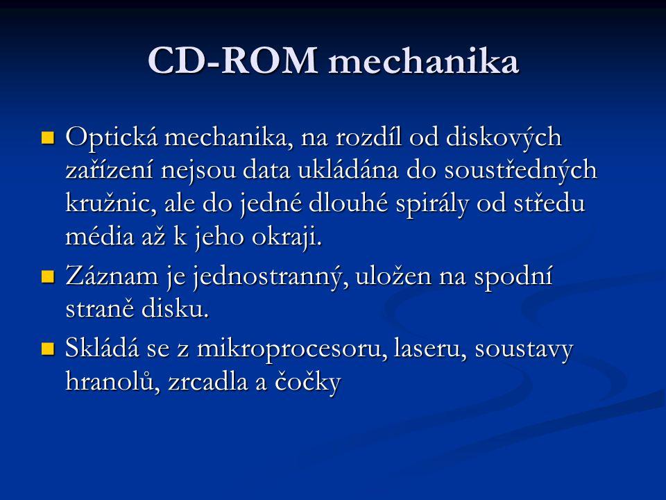 CD-ROM mechanika Optická mechanika, na rozdíl od diskových zařízení nejsou data ukládána do soustředných kružnic, ale do jedné dlouhé spirály od střed