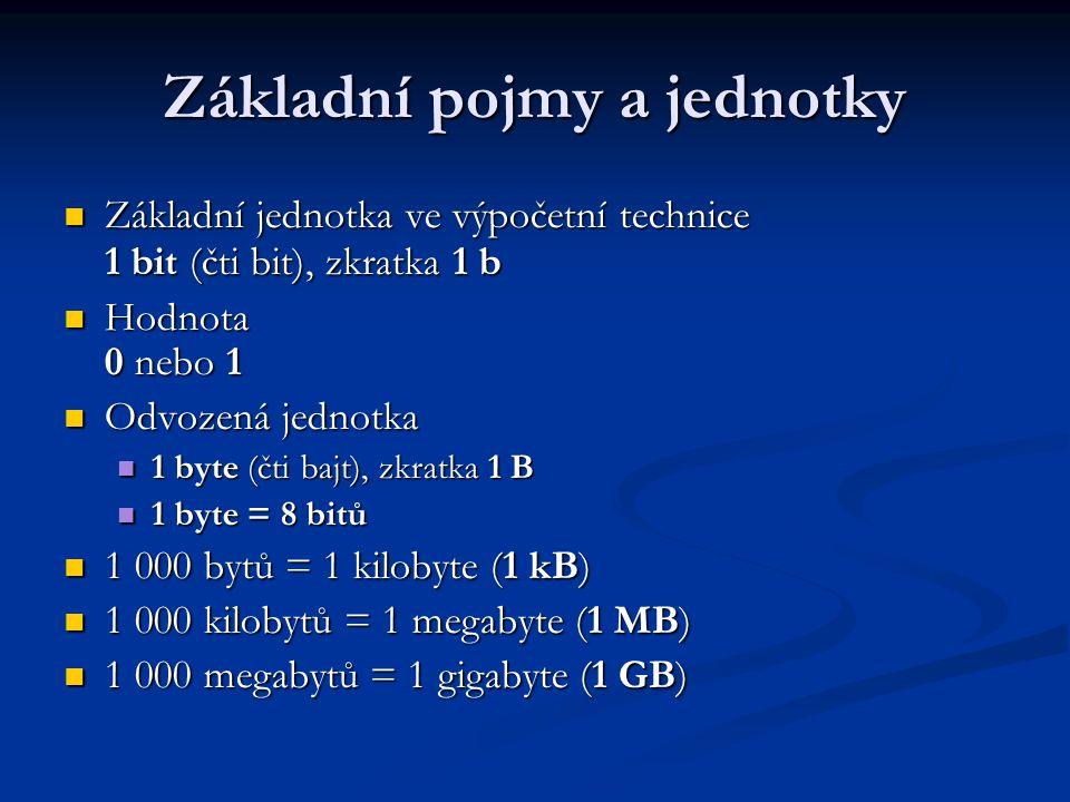 Úkol 1 Převeď: Převeď: 256 B = .kB 256 B = . kB 14 MB = .