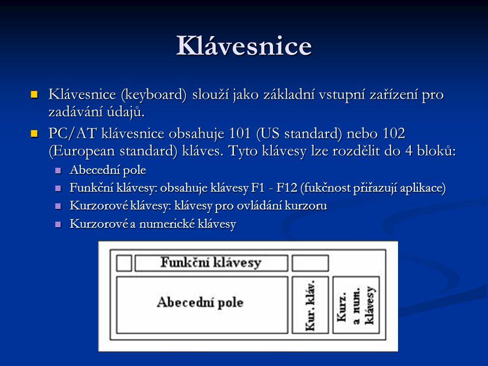 Klávesnice Klávesnice (keyboard) slouží jako základní vstupní zařízení pro zadávání údajů. Klávesnice (keyboard) slouží jako základní vstupní zařízení