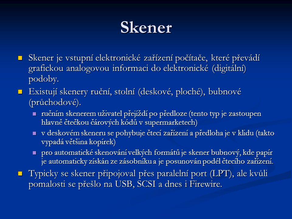 Skener Skener je vstupní elektronické zařízení počítače, které převádí grafickou analogovou informaci do elektronické (digitální) podoby. Skener je vs