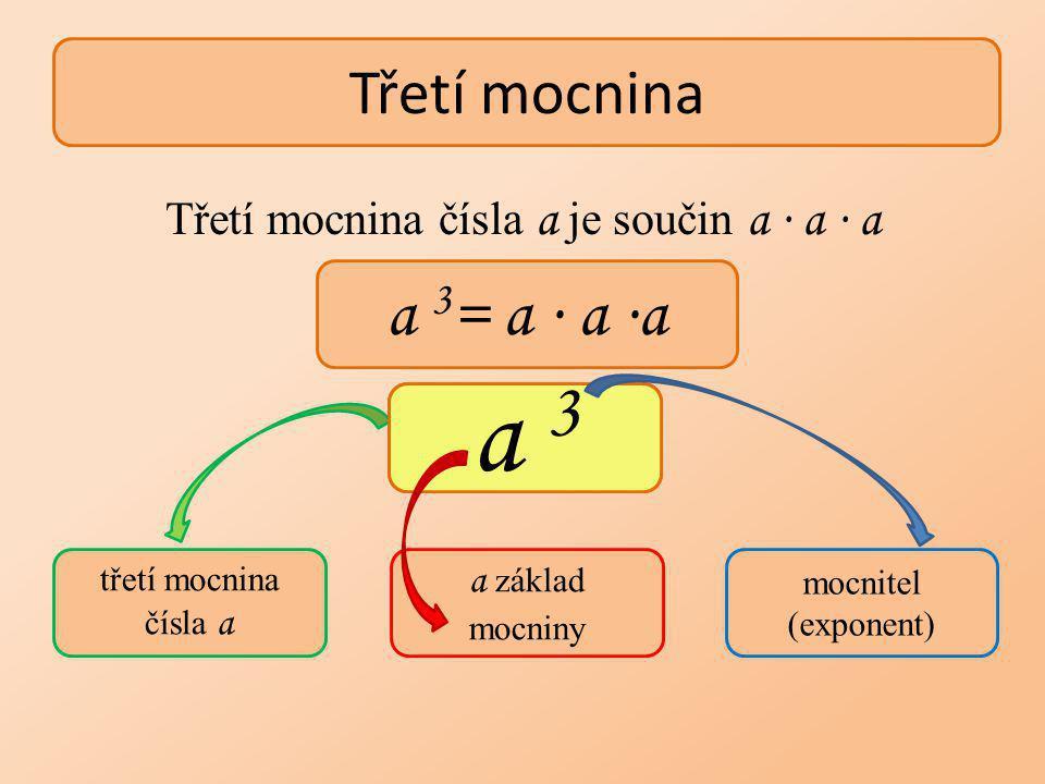 Určete třetí mocninu čísel: 2 3 = (-5) 3 = 0,3 3 = (-0,3) 3 = 10 3 = (-10) 3 = 2 ∙ 2 ∙ 2 = 8 -125 0,027 -1000 1000 - 0,027 Třetí mocnina kladného čísla je číslo kladné, záporného čísla číslo záporné a nuly je nula!