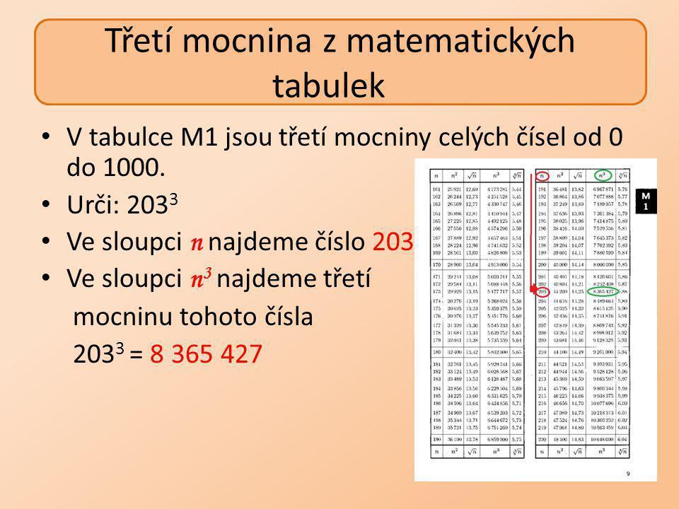 Urči: 20,9 3 Upravíme: 20,9 3 = 209 3 ∙0,1 3 Ve sloupci n najdeme číslo 209 Ve sloupci n 3 najdeme druhou mocninu tohoto čísla – 9 129 329 0,1 3 = 0,001 20,9 3 = 209 3 ∙0,1 3 = 9 129 329 ∙ 0,001 = 9 129,329 Třetí mocnina z matematických tabulek