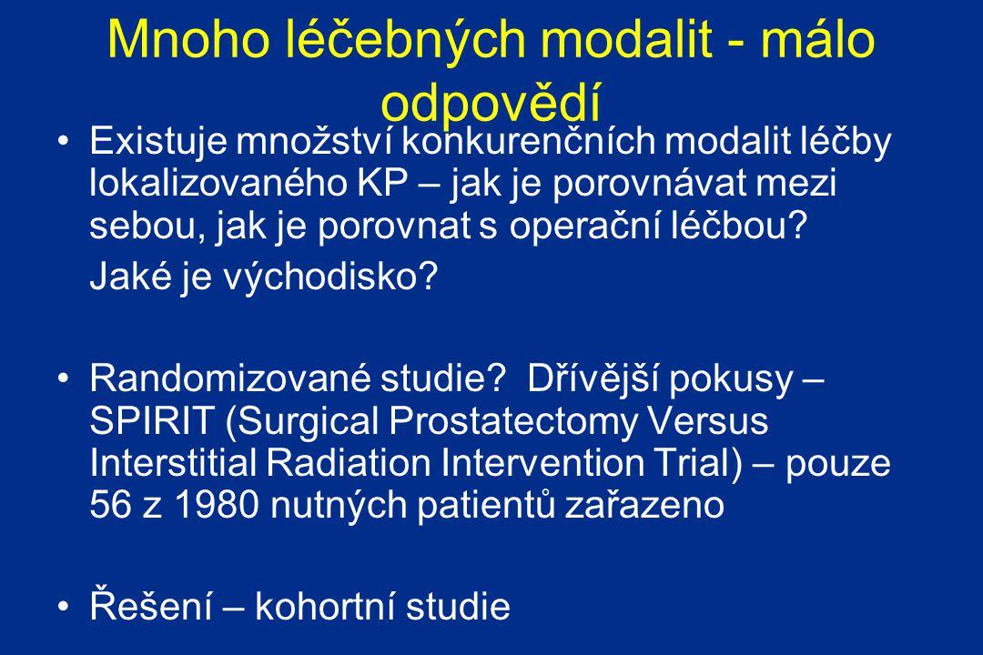 Mnoho léčebných modalit - málo odpovědí Existuje množství konkurenčních modalit léčby lokalizovaného KP – jak je porovnávat mezi sebou, jak je porovnat s operační léčbou.