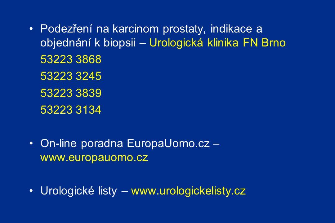 Podezření na karcinom prostaty, indikace a objednání k biopsii – Urologická klinika FN Brno 53223 3868 53223 3245 53223 3839 53223 3134 On-line poradna EuropaUomo.cz – www.europauomo.cz Urologické listy – www.urologickelisty.cz