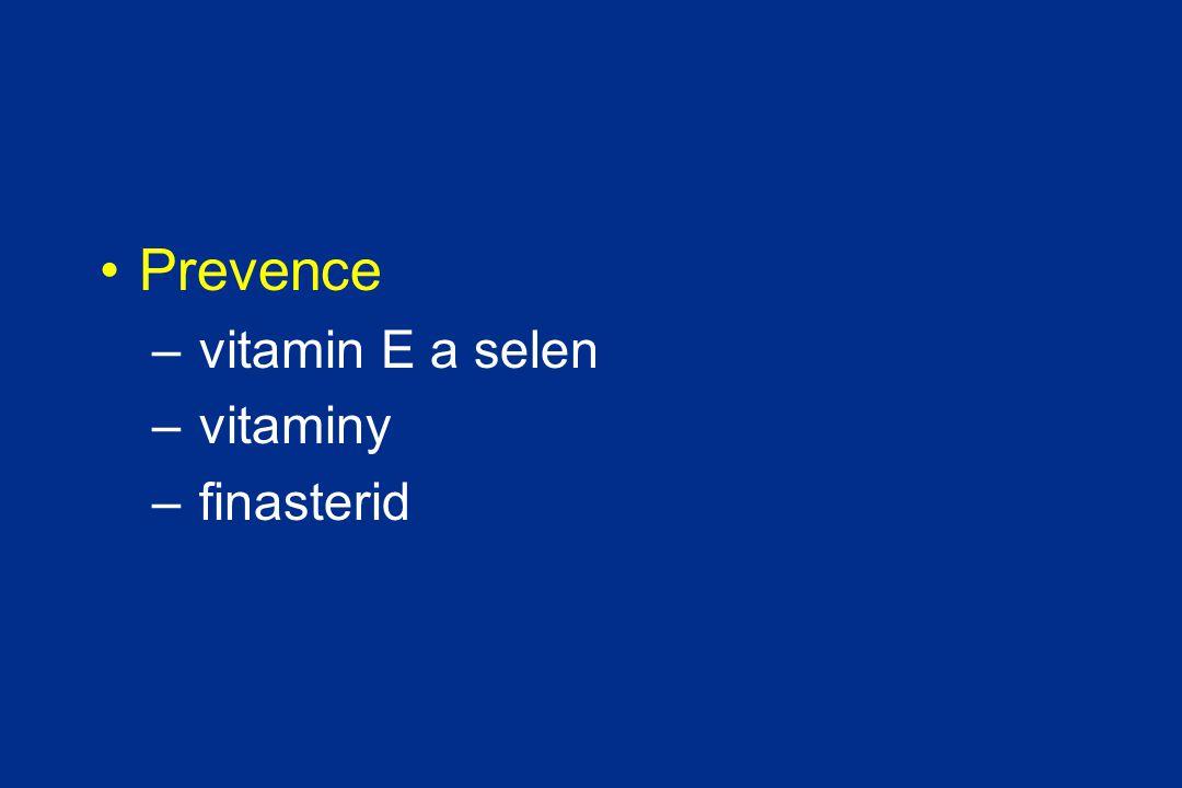 35500 mužů randomizováno k užívání selenu, vitaminu E 400 IU, jejich kombinaci nebo placebu Studie byla předčasně ukončena o 5 let, protože nebyl žádný signifikantní efekt, JAMA | 2008 14600 mužů lékařů bylo randomizováno k užívání vitaminu E 400 IU, vitaminu C 500 mg a placeba po dobu 10 let.
