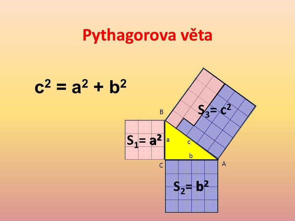Pythagorova věta C A B S 1 = a 2 a b c S 2 = b 2 S 3 = c 2 a2a2 b2b2 c 2 = a 2 + b 2