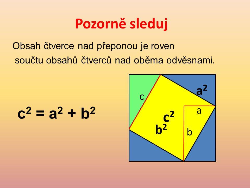 Pozorně sleduj Obsah čtverce nad přeponou je roven součtu obsahů čtverců nad oběma odvěsnami.