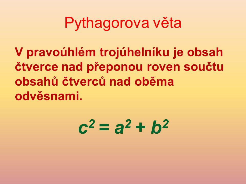 Obrácená Pythagorova věta Jak zjistit (bez rýsování), jestli je trojúhelník pravoúhlý.