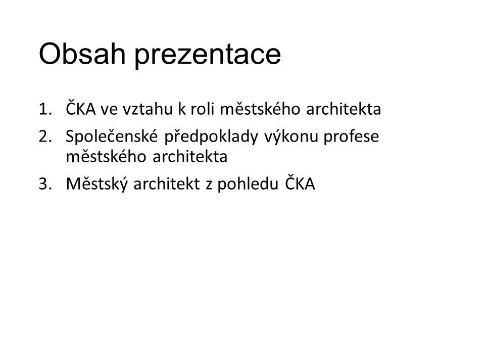 ČKA ve vztahu k roli městského architekta texty Jiřího Plose – 2007, 2011, 2012 usnesení představenstva ČKA 11.
