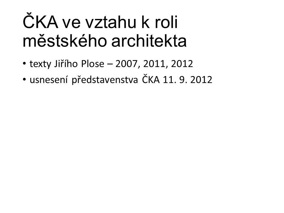 ČKA ve vztahu k roli městského architekta texty Jiřího Plose – 2007, 2011, 2012 usnesení představenstva ČKA 11. 9. 2012