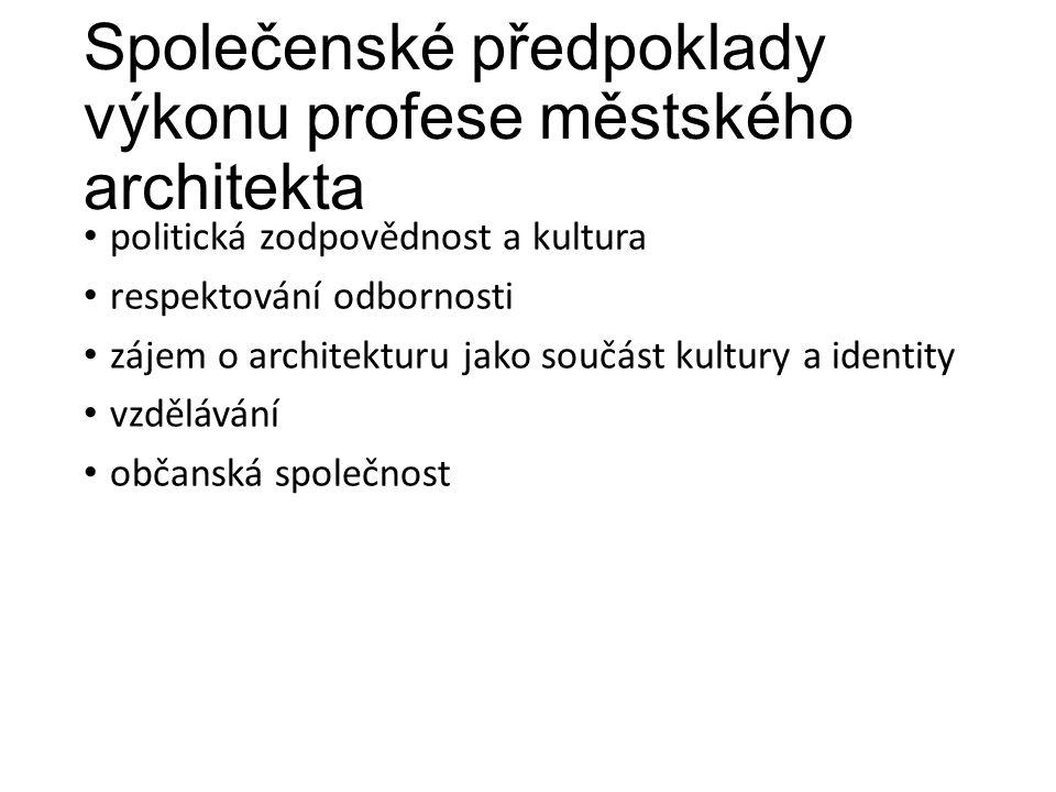 Společenské předpoklady výkonu profese městského architekta politická zodpovědnost a kultura respektování odbornosti zájem o architekturu jako součást kultury a identity vzdělávání občanská společnost
