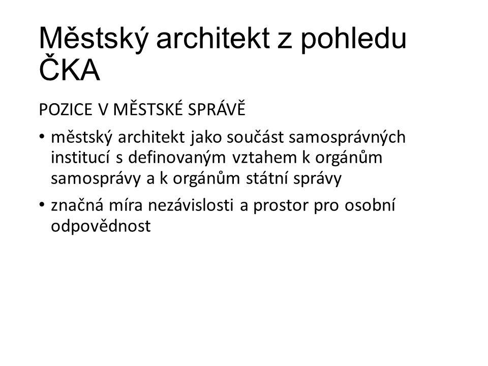 Městský architekt z pohledu ČKA POZICE V MĚSTSKÉ SPRÁVĚ městský architekt jako součást samosprávných institucí s definovaným vztahem k orgánům samospr