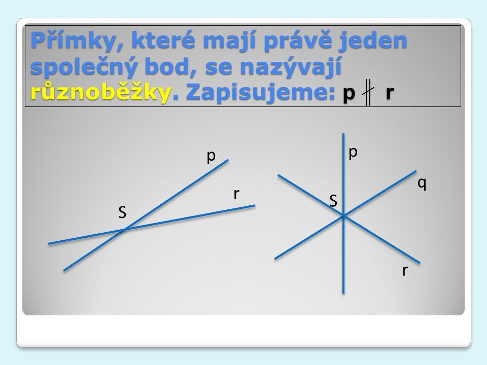 Přímky, které mají právě jeden společný bod, se nazývají různoběžky. Zapisujeme: p r r p S p q r S