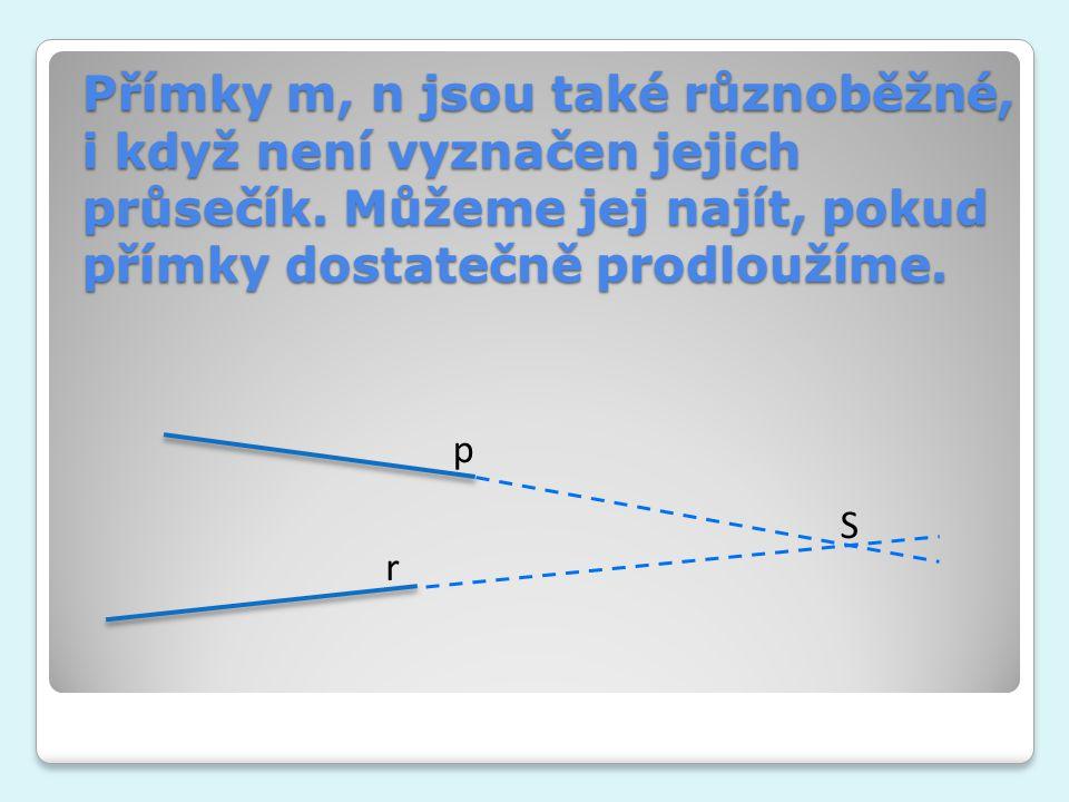 Přímky m, n jsou také různoběžné, i když není vyznačen jejich průsečík. Můžeme jej najít, pokud přímky dostatečně prodloužíme. p r S