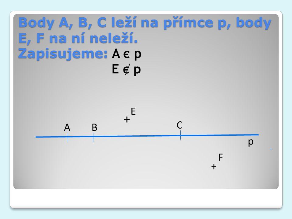 Body A, B, C leží na přímce p, body E, F na ní neleží. Zapisujeme: Body A, B, C leží na přímce p, body E, F na ní neleží. Zapisujeme: A є p E є p p AB