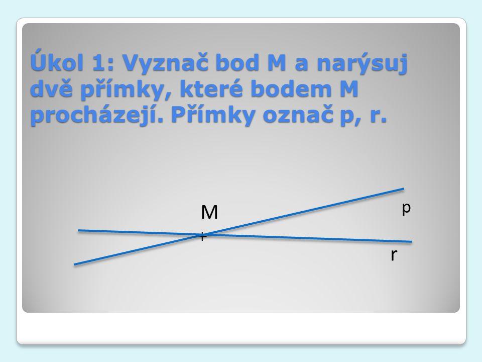 Úkol 1: Vyznač bod M a narýsuj dvě přímky, které bodem M procházejí. Přímky označ p, r. + M p r
