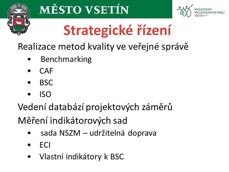 Strategické řízení Realizace metod kvality ve veřejné správě Benchmarking CAF BSC ISO Vedení databází projektových záměrů Měření indikátorových sad sa