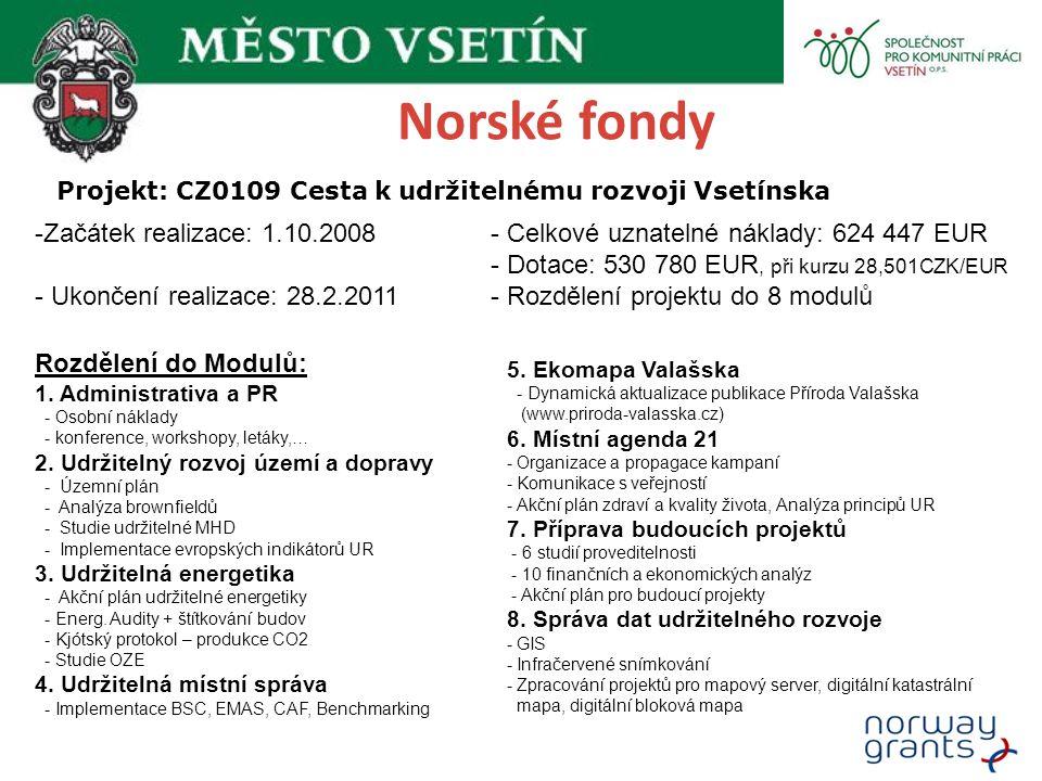 Norské fondy Projekt: CZ0109 Cesta k udržitelnému rozvoji Vsetínska -Začátek realizace: 1.10.2008 - Ukončení realizace: 28.2.2011 Rozdělení do Modulů: