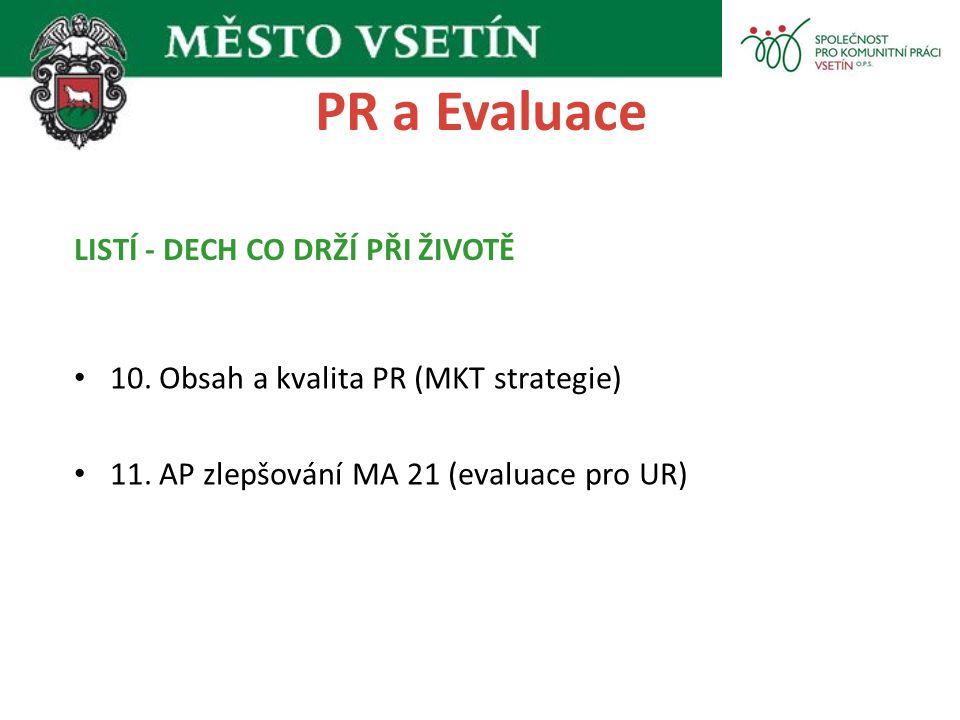 PR a Evaluace 10. Obsah a kvalita PR (MKT strategie) 11. AP zlepšování MA 21 (evaluace pro UR) LISTÍ - DECH CO DRŽÍ PŘI ŽIVOTĚ