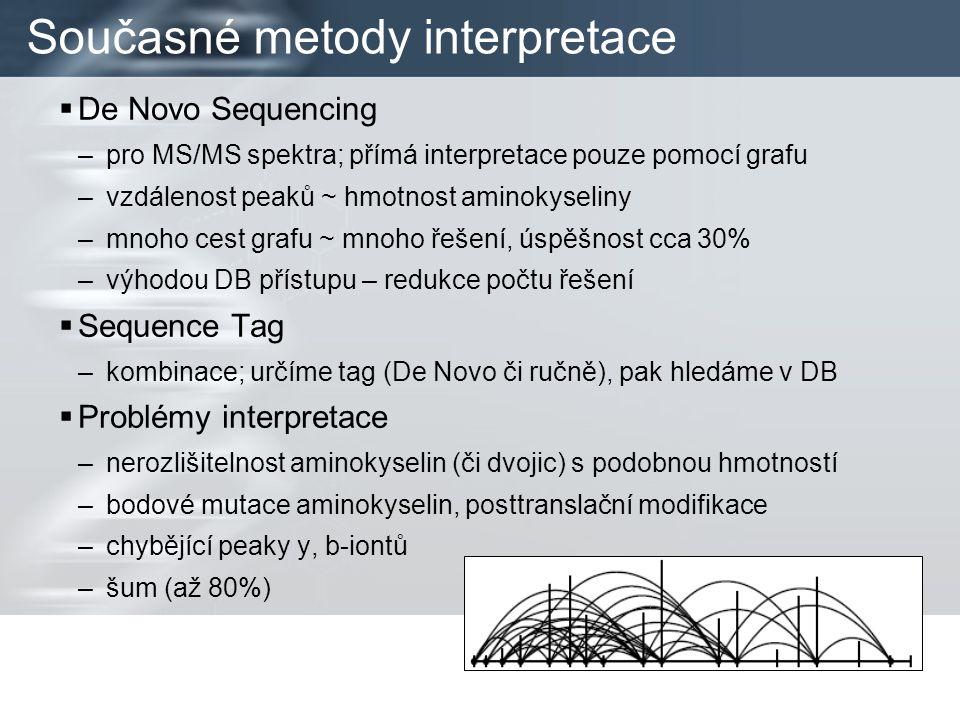 Současné metody interpretace  De Novo Sequencing –pro MS/MS spektra; přímá interpretace pouze pomocí grafu –vzdálenost peaků ~ hmotnost aminokyseliny –mnoho cest grafu ~ mnoho řešení, úspěšnost cca 30% –výhodou DB přístupu – redukce počtu řešení  Sequence Tag –kombinace; určíme tag (De Novo či ručně), pak hledáme v DB  Problémy interpretace –nerozlišitelnost aminokyselin (či dvojic) s podobnou hmotností –bodové mutace aminokyselin, posttranslační modifikace –chybějící peaky y, b-iontů –šum (až 80%)