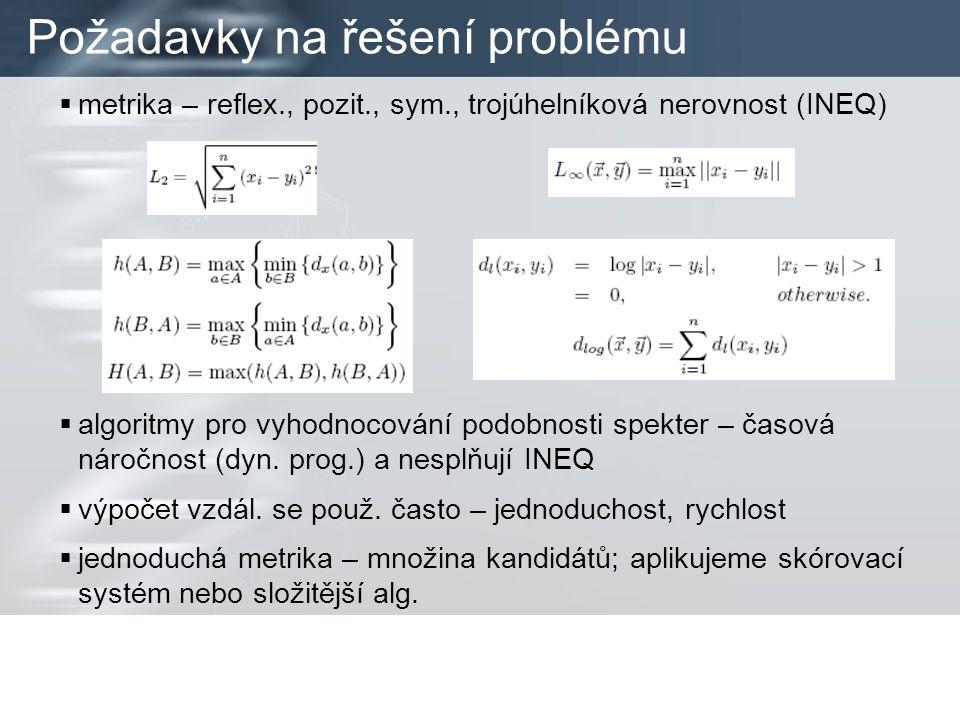 Požadavky na řešení problému  metrika – reflex., pozit., sym., trojúhelníková nerovnost (INEQ)  algoritmy pro vyhodnocování podobnosti spekter – časová náročnost (dyn.