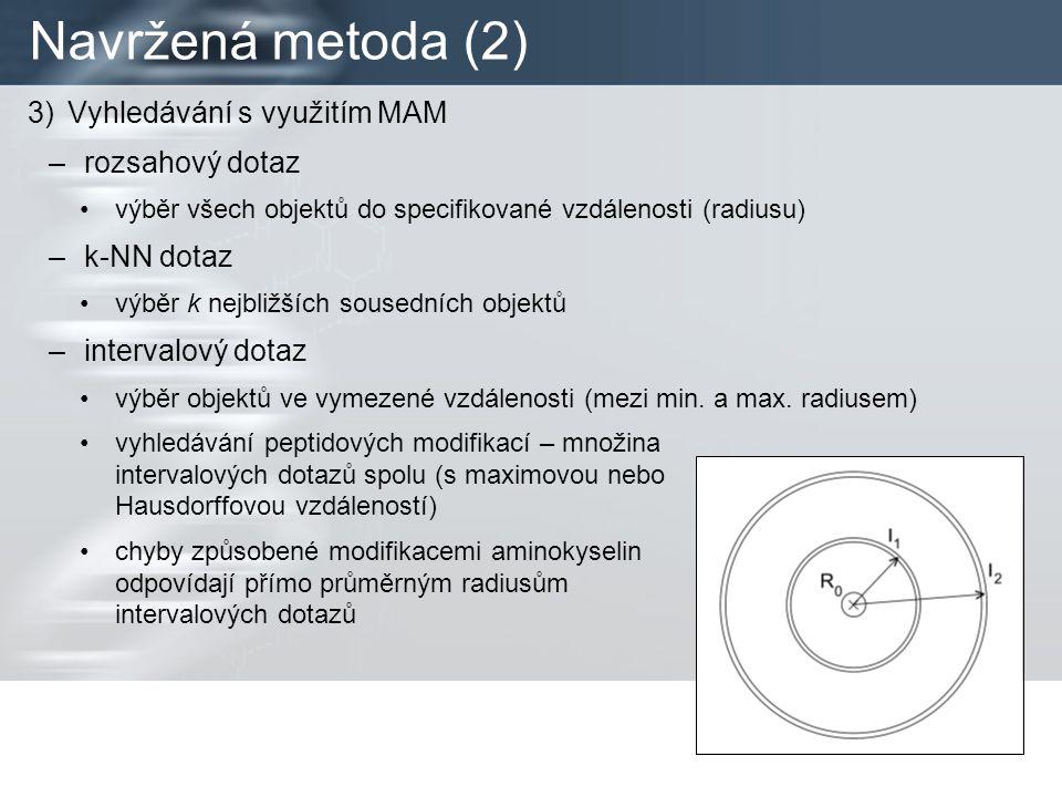Navržená metoda (2) 3)Vyhledávání s využitím MAM –rozsahový dotaz výběr všech objektů do specifikované vzdálenosti (radiusu) –k-NN dotaz výběr k nejbližších sousedních objektů –intervalový dotaz výběr objektů ve vymezené vzdálenosti (mezi min.
