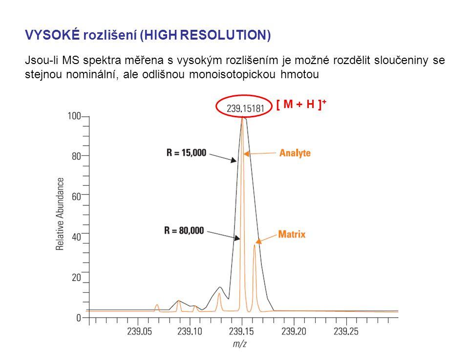 VYSOKÉ rozlišení (HIGH RESOLUTION) Jsou-li MS spektra měřena s vysokým rozlišením je možné rozdělit sloučeniny se stejnou nominální, ale odlišnou mono