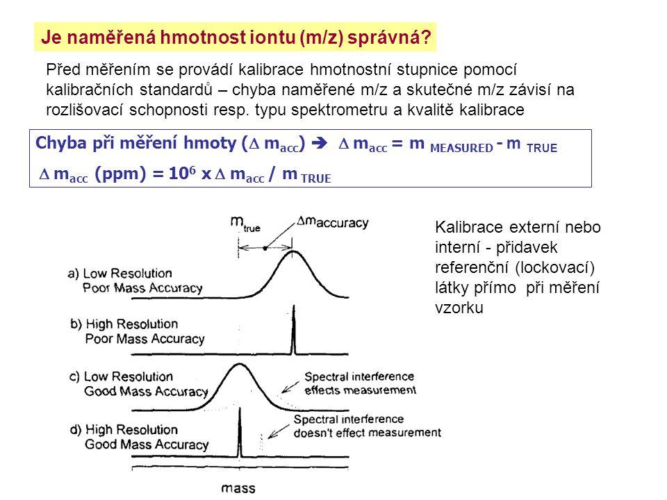 Je naměřená hmotnost iontu (m/z) správná? Před měřením se provádí kalibrace hmotnostní stupnice pomocí kalibračních standardů – chyba naměřené m/z a s