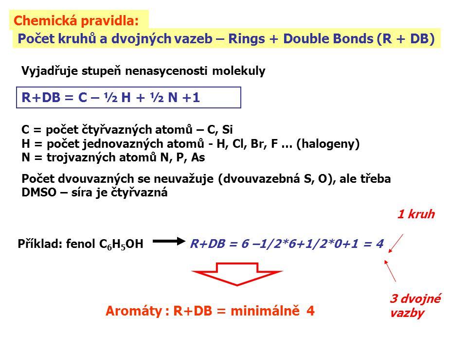 Počet kruhů a dvojných vazeb – Rings + Double Bonds (R + DB) Vyjadřuje stupeň nenasycenosti molekuly R+DB = C – ½ H + ½ N +1 C = počet čtyřvazných ato