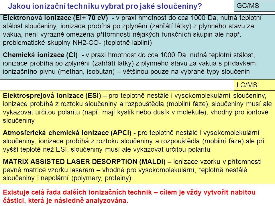 Jakou ionizační techniku vybrat pro jaké sloučeniny? Elektronová ionizace (EI+ 70 eV) - v praxi hmotnost do cca 1000 Da, nutná teplotní stálost slouče
