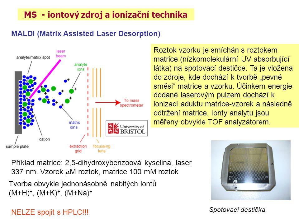MS - iontový zdroj a ionizační technika MALDI (Matrix Assisted Laser Desorption) Roztok vzorku je smíchán s roztokem matrice (nízkomolekulární UV abso