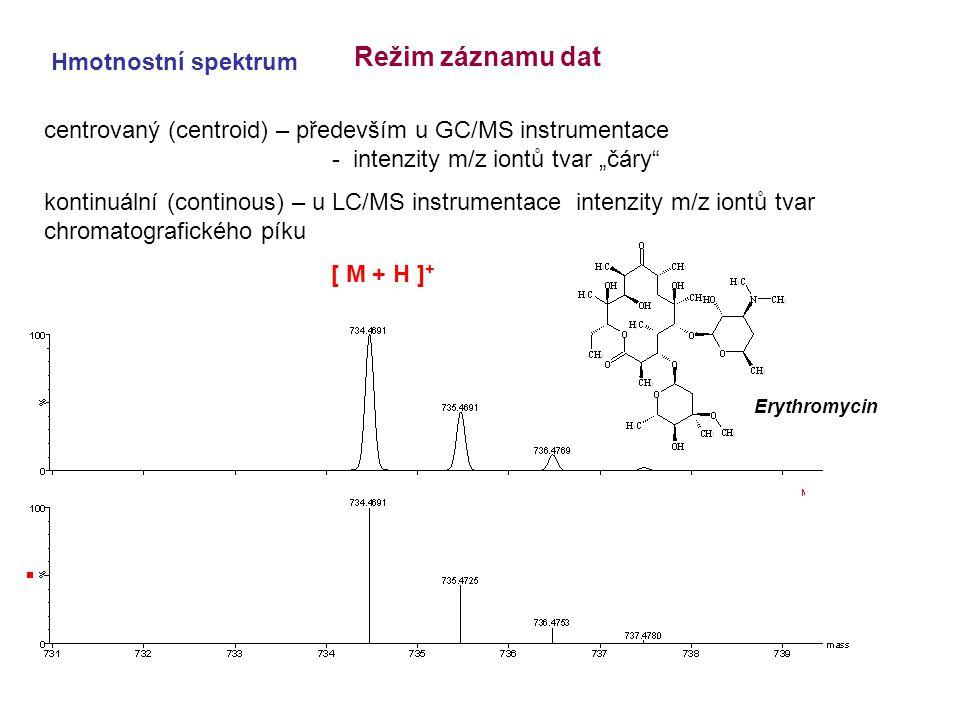"""centrovaný (centroid) – především u GC/MS instrumentace - intenzity m/z iontů tvar """"čáry"""" kontinuální (continous) – u LC/MS instrumentace intenzity m/"""