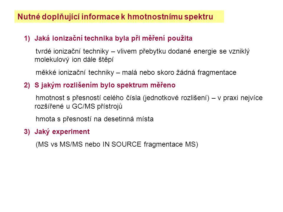 Nutné doplňující informace k hmotnostnímu spektru 1)Jaká ionizační technika byla při měření použita tvrdé ionizační techniky – vlivem přebytku dodané