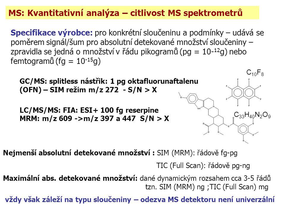 MS: Kvantitativní analýza – citlivost MS spektrometrů Specifikace výrobce: pro konkrétní sloučeninu a podmínky – udává se poměrem signál/šum pro absolutní detekované množství sloučeniny – zpravidla se jedná o množství v řádu pikogramů (pg = 10- 12 g) nebo femtogramů (fg = 10 -15 g) GC/MS: splitless nástřik: 1 pg oktafluorunaftalenu (OFN) – SIM režim m/z 272 - S/N > X LC/MS/MS: FIA: ESI+ 100 fg reserpine MRM: m/z 609 ->m/z 397 a 447 S/N > X C 33 H 40 N 2 O 9 C 10 F 8 Nejmenší absolutní detekované množství : SIM (MRM): řádově fg-pg TIC (Full Scan): řádově pg-ng Maximální abs.