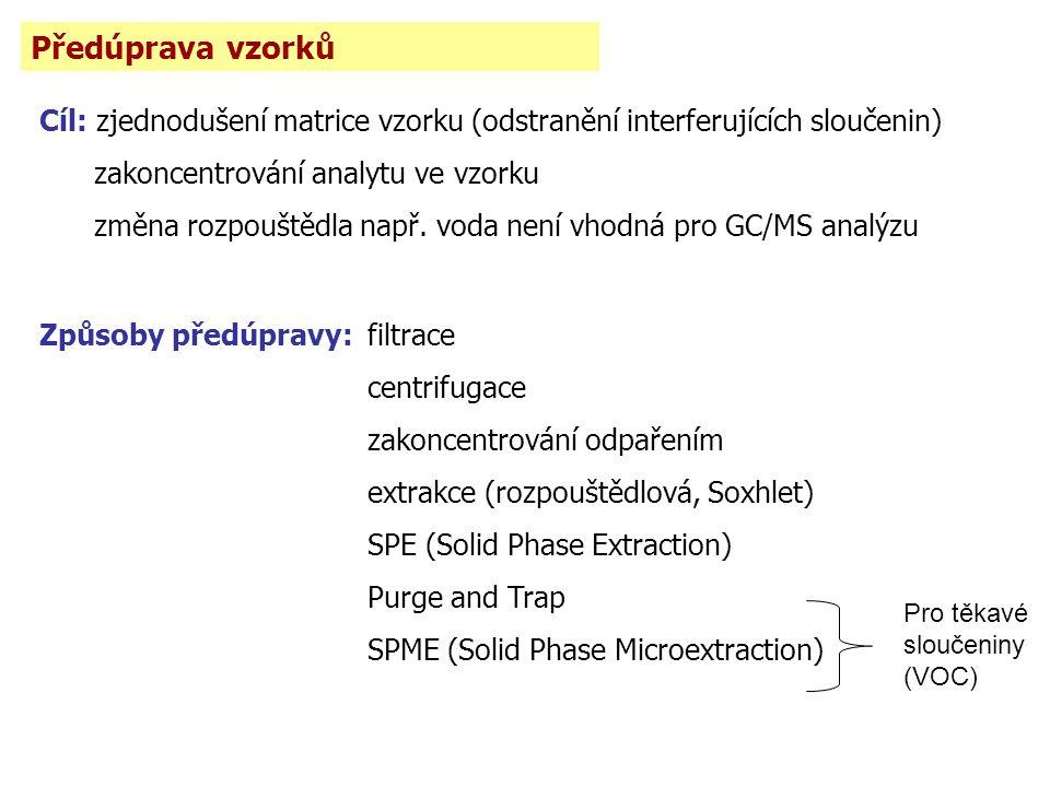 Předúprava vzorků Cíl: zjednodušení matrice vzorku (odstranění interferujících sloučenin) zakoncentrování analytu ve vzorku změna rozpouštědla např. v