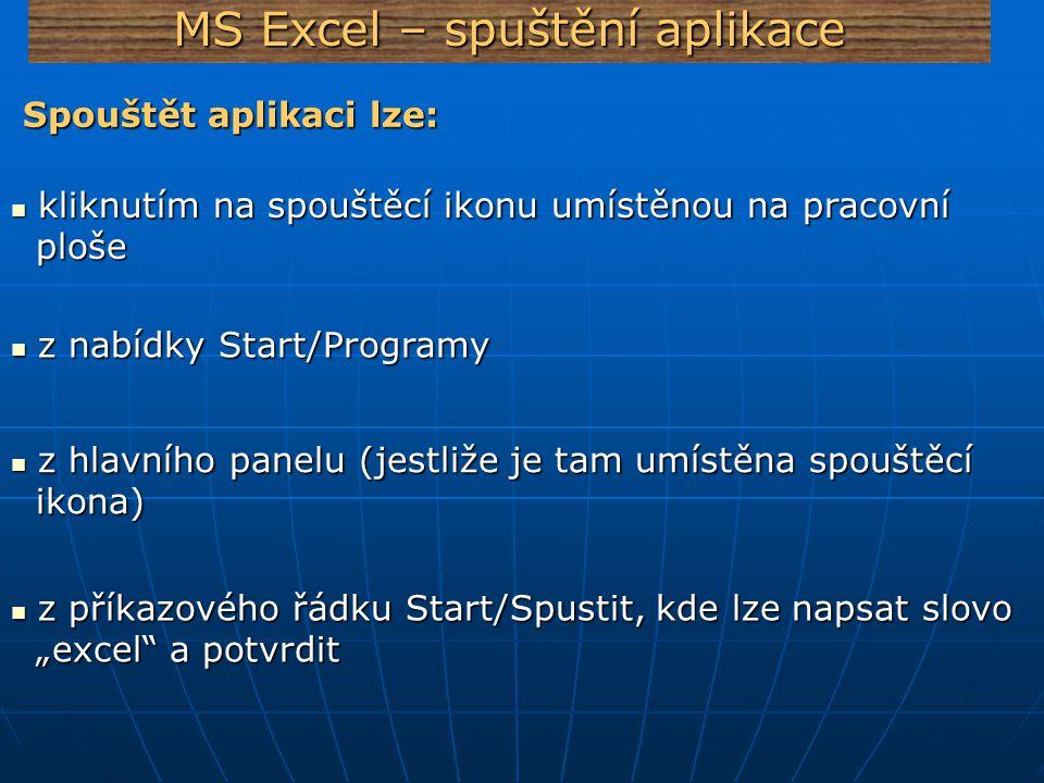 MS Excel – spuštění aplikace Spouštět aplikaci lze: Spouštět aplikaci lze: kliknutím na spouštěcí ikonu umístěnou na pracovní kliknutím na spouštěcí i