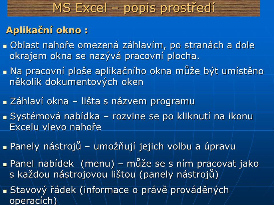 MS Excel – popis prostředí Aplikační okno : Aplikační okno : Oblast nahoře omezená záhlavím, po stranách a dole Oblast nahoře omezená záhlavím, po str