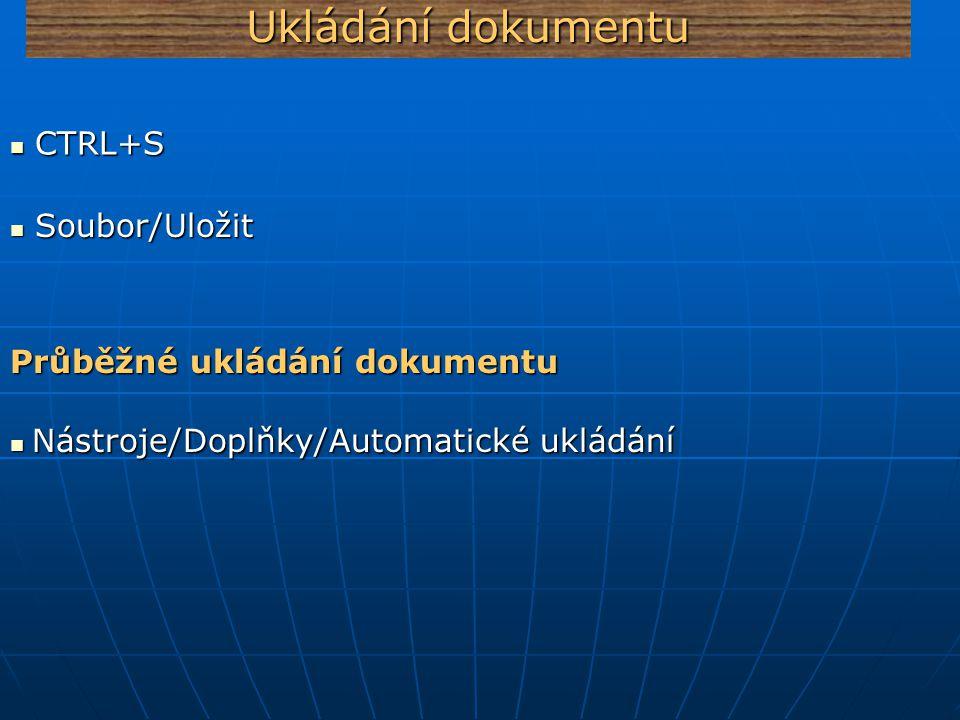 Ukládání dokumentu Soubor/Uložit Soubor/Uložit CTRL+S CTRL+S Průběžné ukládání dokumentu Nástroje/Doplňky/Automatické ukládání Nástroje/Doplňky/Automa